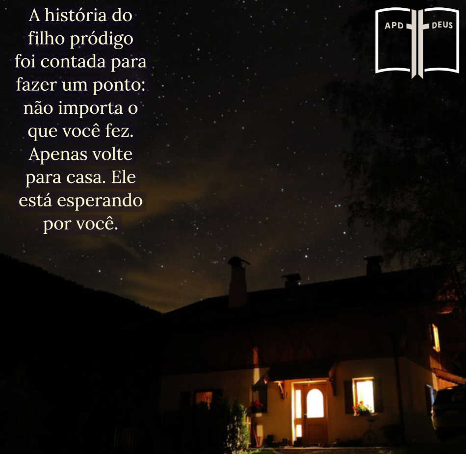 É uma noite escura com uma casa bem iluminada recebendo todos os que estão do lado de fora para entrar, assim como Deus é nosso santuário na escuridão da vida.