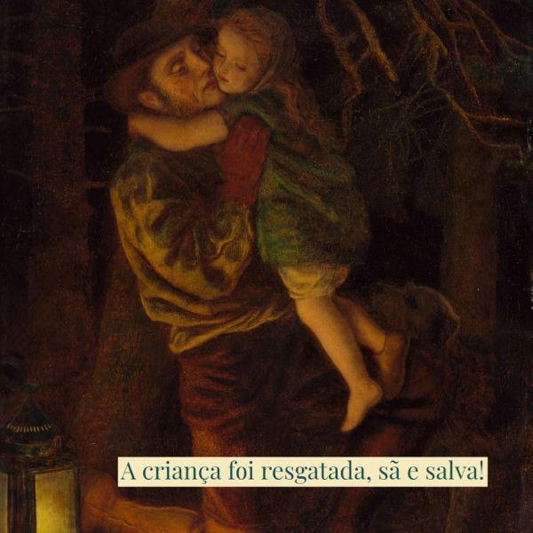 Uma pintura antiga de um pai que deixou cair sua lanterna em seu sério para recolher seu filho perdido. A criança foi encontrada, sã e salva.