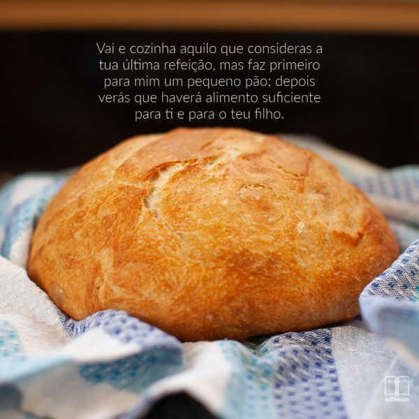 Um pequeno pedaço de pão crocant: mas faz primeiro para mim um pequeno pão; depois verás que haverá alimento suficiente para ti e para o teu filho.