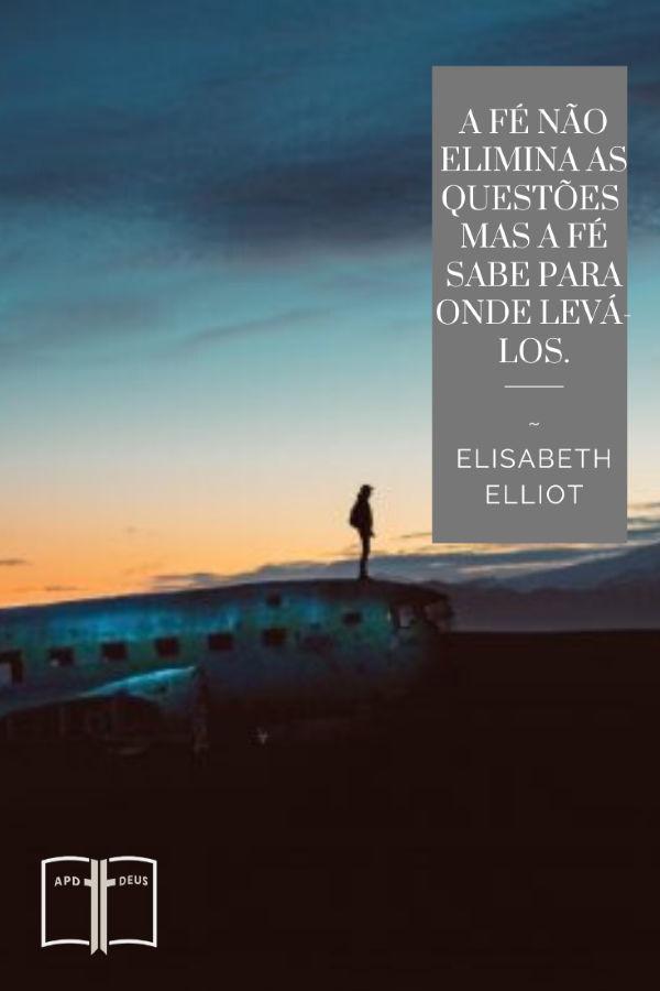 Uma pessoa fica em um avião abandonado. Elisabeth Elliot uma vez disse: A fé não elimina as questões, mas fé sabe para onde levá-Los.