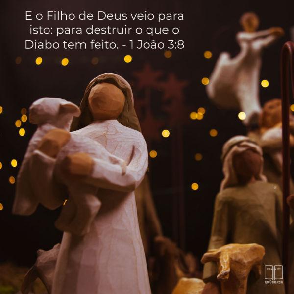Uma figura de pastor segurando um cordeiro com as palavras:E o Filho de Deus veio para isto: para destruir o que o Diabo tem feito. 1 João 3:8