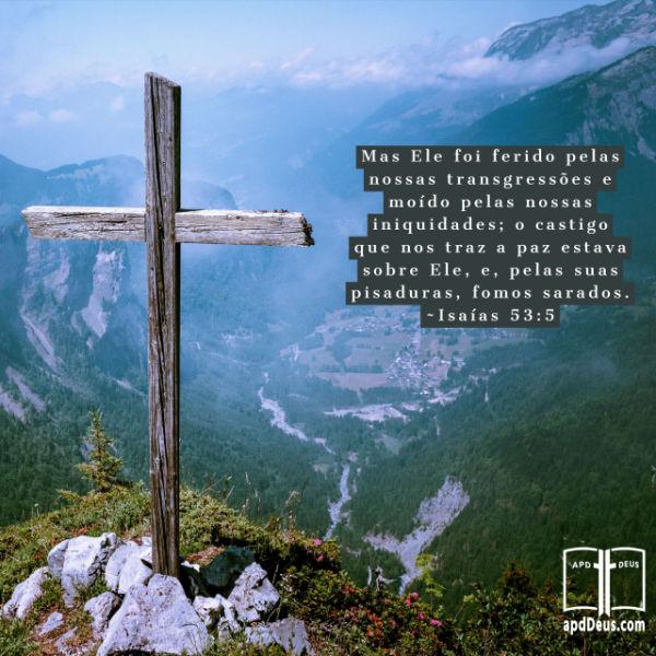 Mas ele foi ferido pelas nossas transgressões e moído pelas nossas iniquidades; o castigo que nos traz a paz estava sobre ele, e, pelas suas pisaduras, fomos sarados.(Isaías 53:5)