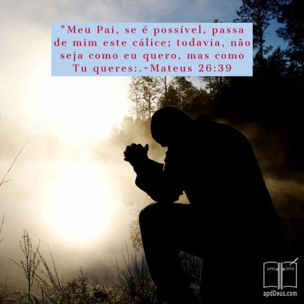 Jesus ajoelhado em um jardim sombrio e orando: Meu Pai, se é possível, passa de mim este cálice; todavia, não seja como eu quero, mas como tu queres. (Mateus 26:39)