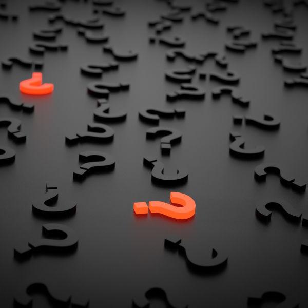Pontos de interrogação, significando as perguntas que surgem a partir de situações em nossas vidas.
