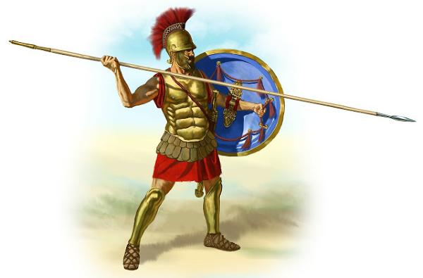 Um soldado romano está vestido com seu equipamento de batalha, lança puxada.